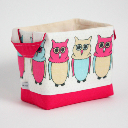 Owl Print Fabric Basket Small