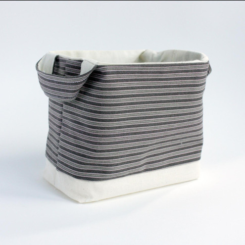 SALE - Brown striped striped fabric basket