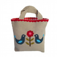 Applique Folk Bird Linen Bag