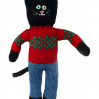 knitted Kevin the cat in jeans