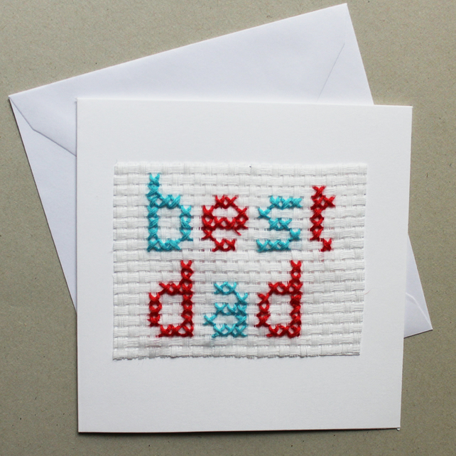 Hand stitched Fathers day card