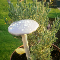 "Ceramic toadstool, mushroom, fairy garden, unusual gift, gardener,""Lilac Spotty"""
