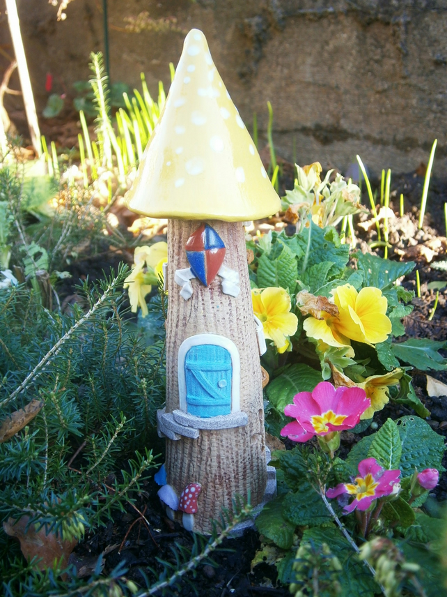 "Ceramic fairy house, fairy garden, candle holder, incense burner,""Yellow Spot 2"""