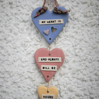 "Ceramic wall plaque, Valentine, love, marriage, wedding, ""My Heart Is..."""
