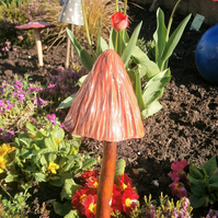 "Ceramic toadstool, mushroom, fairy garden, ""Brick Red Crinkled"""