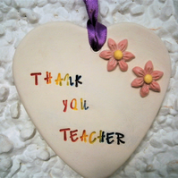 'Thank You Teacher' ceramic plaque, heart, school, pupil, student, end of term