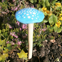 "Ceramic toadstool,mushroom, fairy garden,unusual gift, garden,""Turquoise Spotty"""