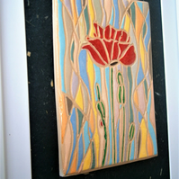 "Ceramic plaque, framed, abstract, stained glass effect, ""Poppy"""
