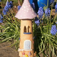 "Ceramic fairy house, fairy garden, candle holder, incense burner, ""Lilac Spot"""
