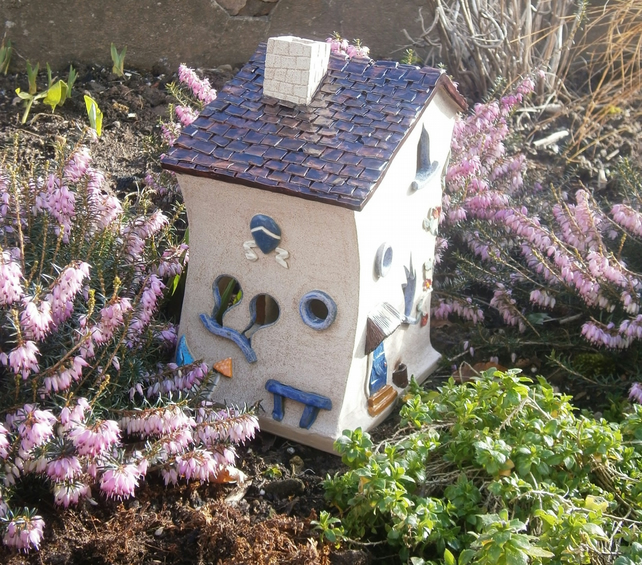 Ceramic fairy house, fairy garden, candle holder, incense burner