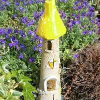 "Ceramic fairy house, fairy garden, candle holder, incense burner,""Yellow Spot 1"""