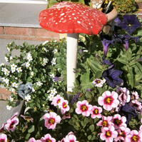 "Ceramic toadstool, mushroom, fairy garden, unusual gift, gardener ""Red Spotty"""