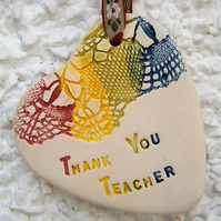 'Thank You Teacher' ceramic plaque, heart, school, pupil, student