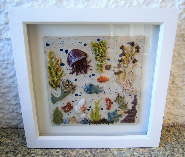 "Ceramic plaque, in frame, underwater, seascape, seaside, ""Octopus Garden"""