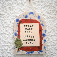 "Ceramic wall plaque, Christening, baptism, naming day, adoption ""Great Oaks ..."""