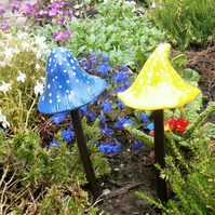"Pair of ceramic mushrooms, fairy garden,toadstool,magic mushroom ""Blue & Yellow"""