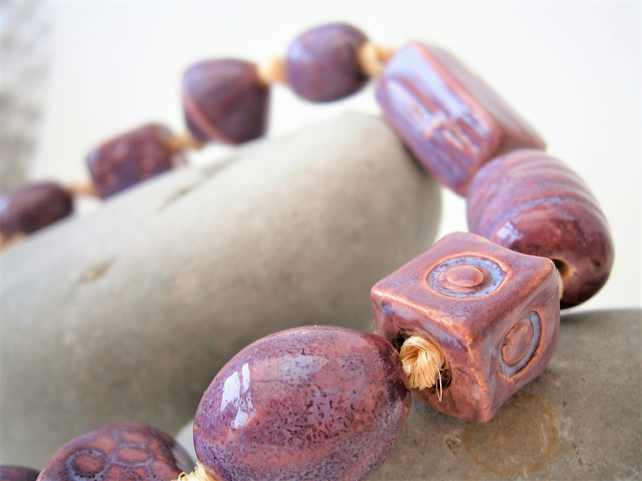 "Ceramic beads, hand-made, string of 10 beads ""Lavender"""