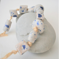 "Ceramic beads, hand-made, string of 10 beads ""Blue Ice"""
