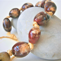 "Ceramic beads, hand-made, string of 10 beads ""Lava"""