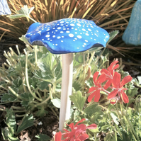 "Ceramic toadstool, mushroom, fairy garden, unusual gift, gardener ""Blue Spotty"""