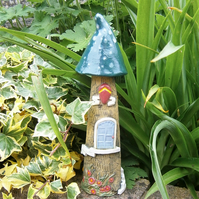 "Ceramic fairy house, fairy garden, candle holder, incense burner,""Peacock Green"""