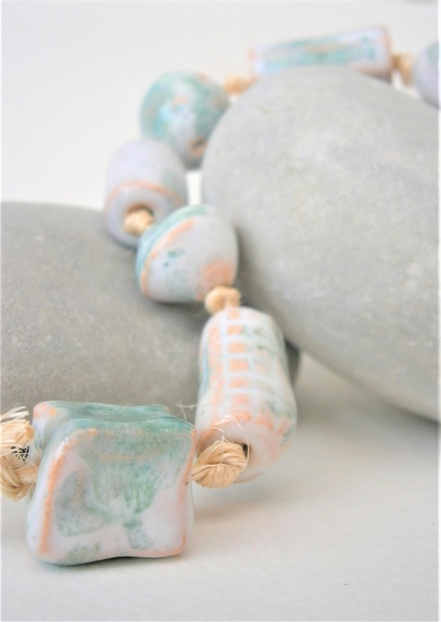 "Ceramic beads, hand-made, string of 10 beads ""Mint Ice"""