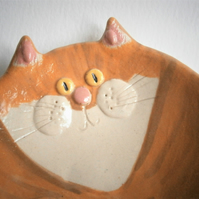 Ceramic cat treat bowl, ginger tom, kitten, kitty, pussy, hand-made