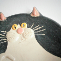 Ceramic cat treat bowl, black and white cat, tuxedo cat, kitten, kitty, pussy