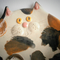 Ceramic cat treat bowl, tortoiseshell cat, tuxedo cat, kitten, kitty, pussy