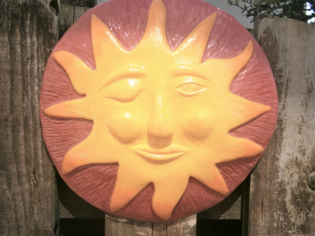 Sunshine ceramic wall plaque, Sun in Splendour, garden feature