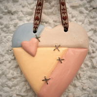"Handmade ceramic heart, plaque, wedding, Valentine, love token, ""Mended Heart"""