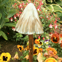 "Ceramic toadstool,ceramic mushroom,fairy garden,magic mushroom""Green Blue Ridge"""