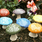 Miniature ceramic mushrooms, toadstools, fairy garden, cactus, rainbow, set of 7