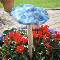 "Ceramic toadstool, ceramic mushroom, fairy garden ""Blue Circles"""