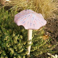 "Ceramic toadstool, ceramic mushroom, fairy garden ""Lilac Dotty"""