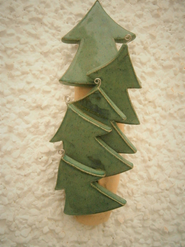 Hanging Decoration Abstract Modern Ceramic Plaque Christmas Trees