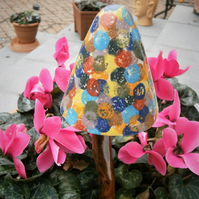 "Ceramic toadstool, ceramic mushroom, fairy garden ""Multicoloured Circles"""