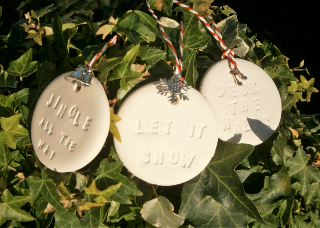 Set Of 3 Ceramic Christmas Tree Decorations Hanging Baubles Songs Hymns Carols