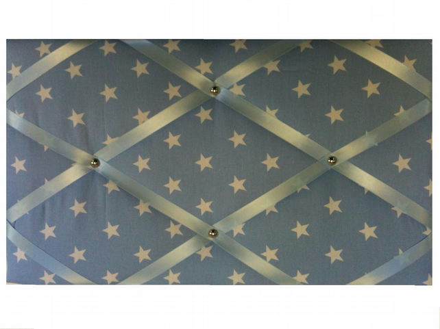 Fabric Covered Notice Board, Memo Board, Pinboard, Baby Blue White Stars