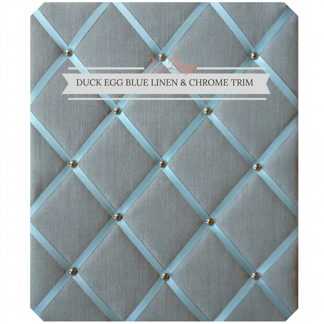 Duck Egg Blue Linen & Chrome Trim, X-Large Fabric Notice Board Hangs Portrait