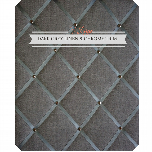 Dark Grey Linen & Chrome Trim, X-Large Fabric Notice Board Hangs Portrait
