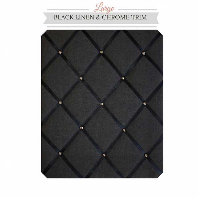 Black Linen & Chrome Trim, Large Fabric Notice Board Hangs Portrait