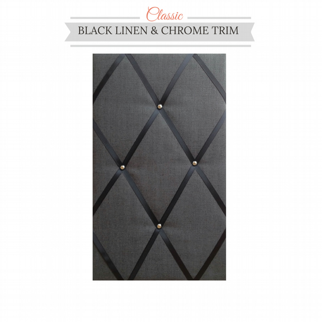 Black Linen & Chrome Trim, Classic Fabric Notice Board Hangs Portrait