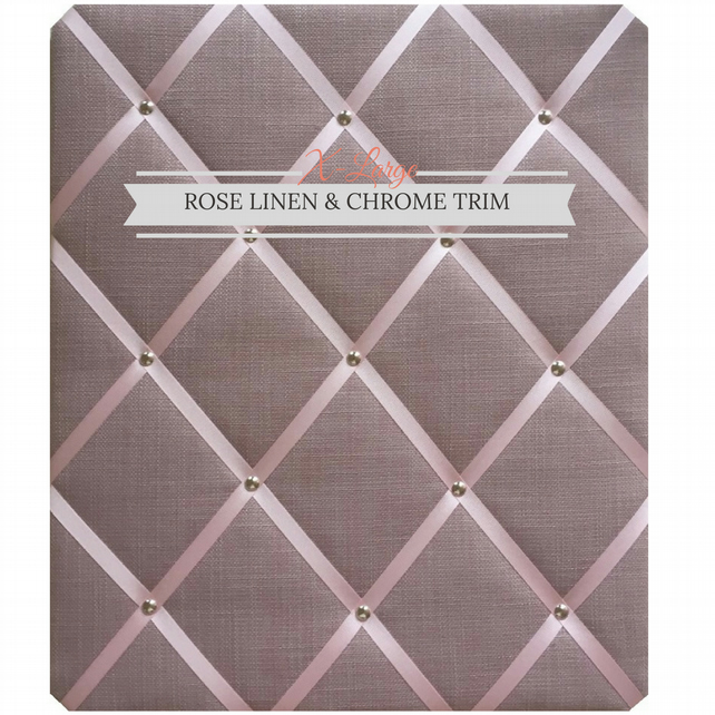 Pink Linen & Chrome Trim, X-Large Fabric Notice Board Hangs Portrait