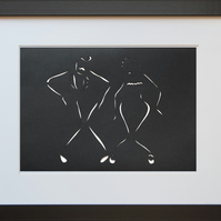 Lindy Hop Charleston Paper Cut Art - Framed