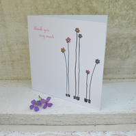 Mini thank you flowers card