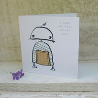 Sad robot get well soon mini card