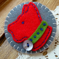 Clip Art Inspired  Scottish Dog Design Handmade Felt Brooch