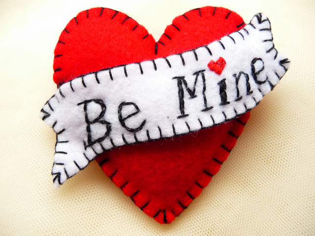 FB055 - Hot Red - Be Mine - Heart Shape Handmade Felt Brooch For Your Loved One