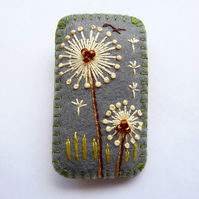 ON SALE - 20% off - Rectangle Shape Dandelion inspired handmade felt brooch